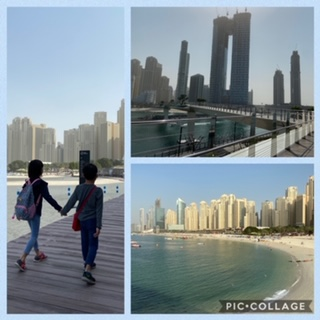 Crossing bridge between Bluewaters and Jumeirah Beach Residence